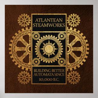 Steamworks de la Atlántida - oro en negro y Brown Posters