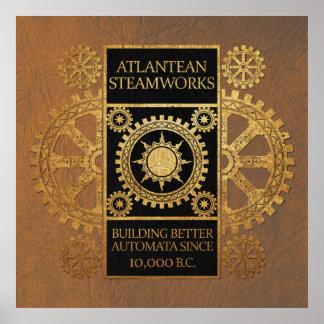 Steamworks de la Atlántida - oro en negro y moreno Impresiones