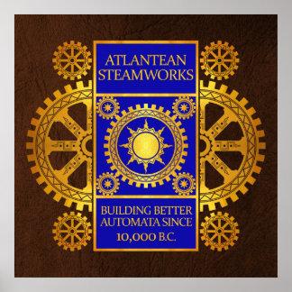 Steamworks de la Atlántida - oro y azul en Brown Poster