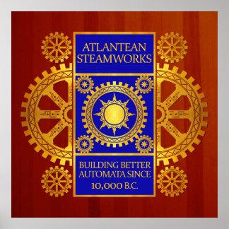 Steamworks de la Atlántida - oro y azul en Cherryw Posters