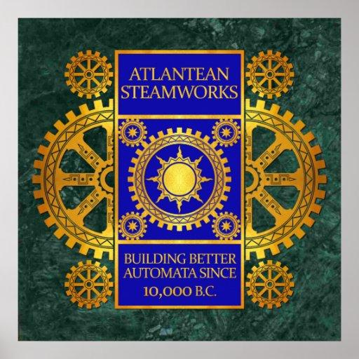 Steamworks de la Atlántida - oro y azul en el márm Impresiones