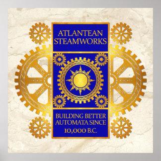 Steamworks de la Atlántida - oro y azul en el márm Posters