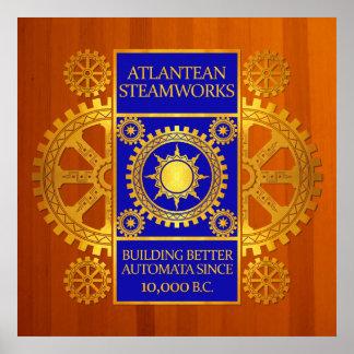 Steamworks de la Atlántida - oro y azul en la made Impresiones