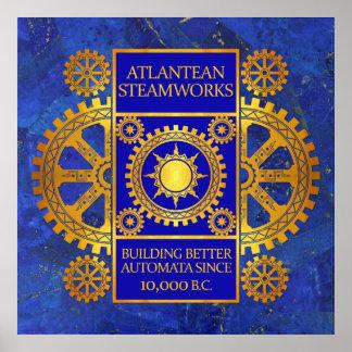 Steamworks de la Atlántida - oro y azul en lapislá Poster