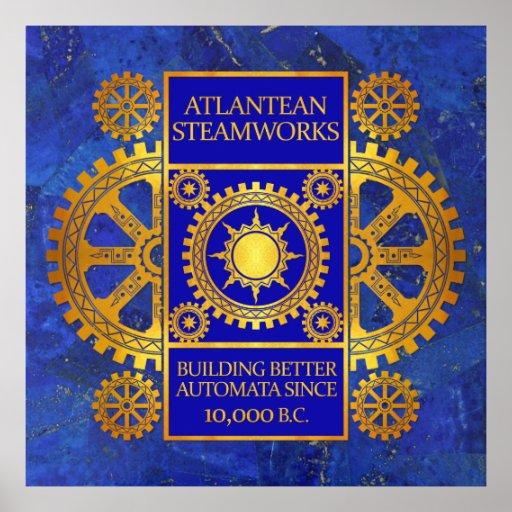 Steamworks de la Atlántida - oro y azul en lapislá Póster