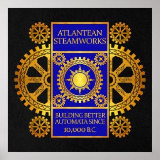 Steamworks de la Atlántida - oro y azul en negro Posters