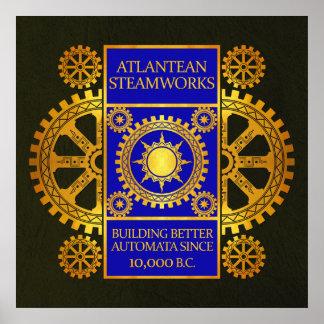 Steamworks de la Atlántida - oro y azul en verde Poster