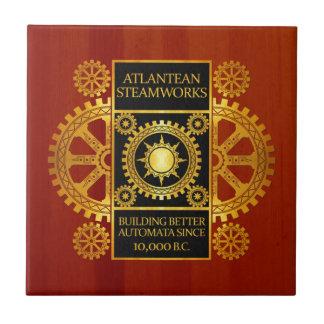 Steamworks de la Atlántida - oro y cuero en la Azulejo Cuadrado Pequeño