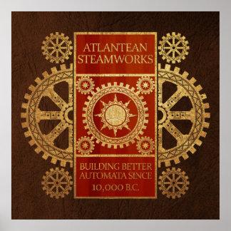Steamworks de la Atlántida - oro y madera en el cu Poster
