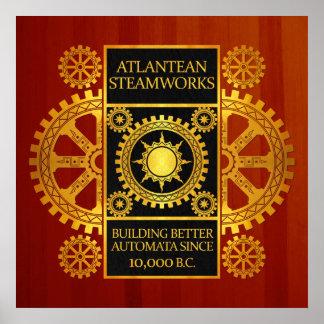 Steamworks de la Atlántida - oro y negro en Cherry Poster
