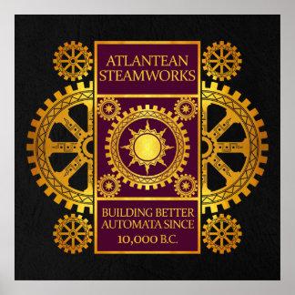 Steamworks de la Atlántida - oro y púrpura en negr Impresiones