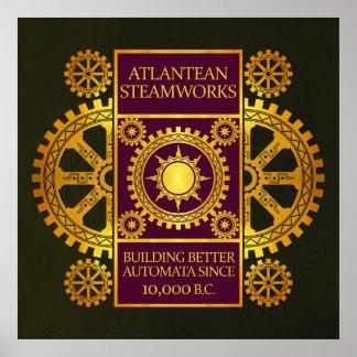 Steamworks de la Atlántida - oro y púrpura en verd Poster