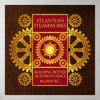 Steamworks de la Atlántida - oro y rojo en Brown Impresiones