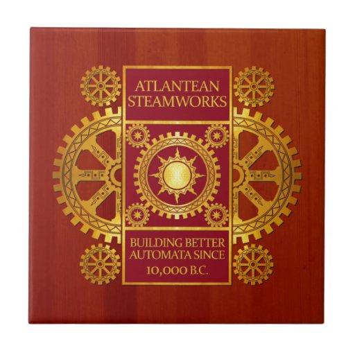 Steamworks de la Atlántida - oro y rojo en Cherryw Azulejo Cuadrado Pequeño