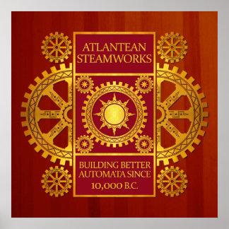 Steamworks de la Atlántida - oro y rojo en Cherryw Posters