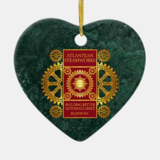 Steamworks de la Atlántida - oro y rojo en el márm Ornamento Para Reyes Magos