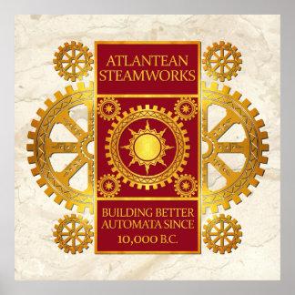 Steamworks de la Atlántida - oro y rojo en el márm Poster