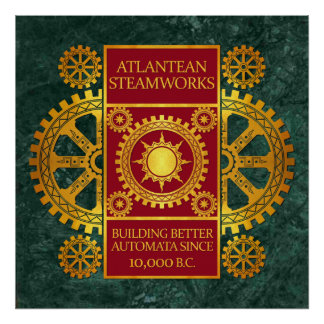 Steamworks de la Atlántida - oro y rojo en el márm Posters