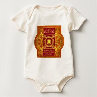 Steamworks de la Atlántida - oro y rojo en la Body De Bebé