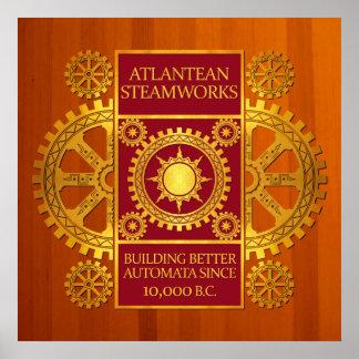 Steamworks de la Atlántida - oro y rojo en la made Impresiones
