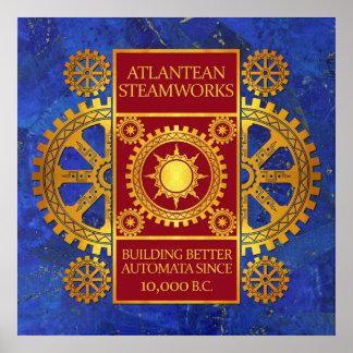 Steamworks de la Atlántida - oro y rojo en lapislá Impresiones