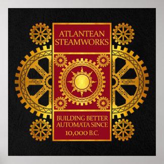 Steamworks de la Atlántida - oro y rojo en negro Impresiones