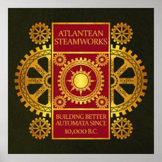 Steamworks de la Atlántida - oro y rojo en verde Posters