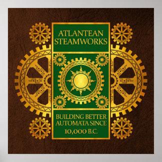 Steamworks de la Atlántida - oro y verde en Brown Impresiones