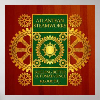 Steamworks de la Atlántida - oro y verde en Cherry Poster