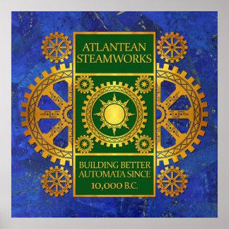 Steamworks de la Atlántida - oro y verde en Lapis  Posters