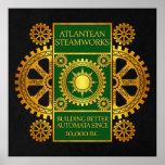 Steamworks de la Atlántida - oro y verde en negro Impresiones