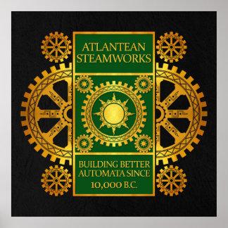 Steamworks de la Atlántida - oro y verde en negro Posters