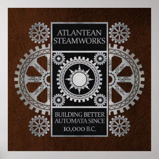 Steamworks de la Atlántida - plata en negro y Brow Impresiones