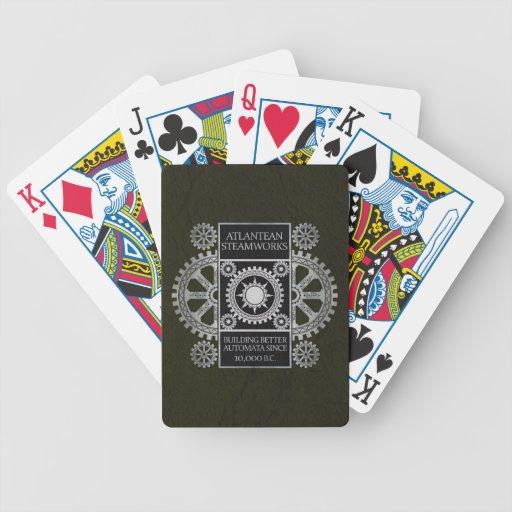 Steamworks de la Atlántida - plata en negro y verd Baraja Cartas De Poker