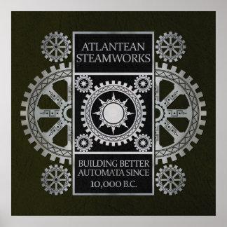 Steamworks de la Atlántida - plata en negro y verd Posters