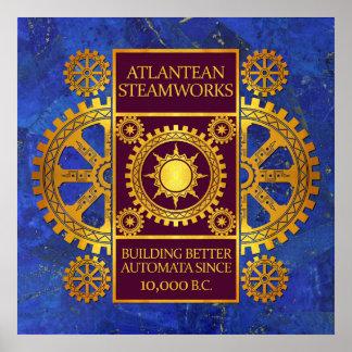 Steamworks-Oro de la Atlántida y púrpura en lapisl Posters