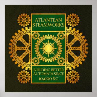 Steamworks-Oro de la Atlántida y verde en el cuero Posters