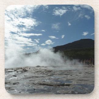 Steamy geysir geyser in Iceland Drink Coaster
