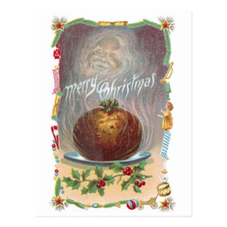 Steamy Plum Pudding Vintage Christmas Post Card