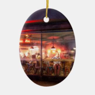 Steamy Shoreditch coffee house, London Ceramic Ornament
