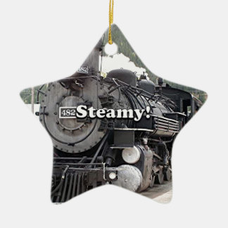 Steamy!: steam train engine, Colorado, USA 8 Ceramic Ornament