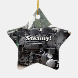 Steamy!: steam train engine, Colorado, USA Ceramic Ornament
