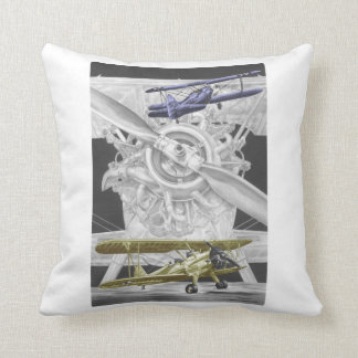 Stearman Biplane Throw Pillows