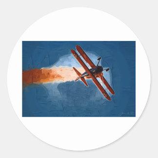 Stearman Biplane Round Stickers