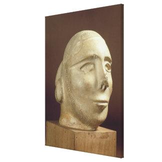 Steatite portrait head, Mohenjodaro, 2300-1750 BC Canvas Print