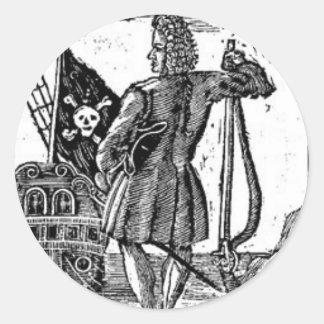 Stede Bonnet Pirate Portrait Classic Round Sticker