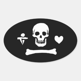 Stede Bonnet Pirate Sigil Oval Sticker