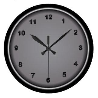 Steel and Black Number Print Large Clock
