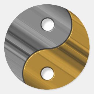 steel and brass classic round sticker
