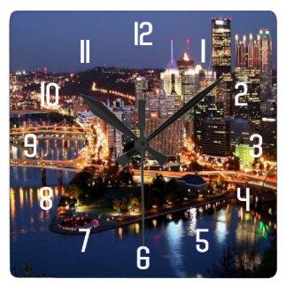 Steel and Indigo Sandwich Square Wall Clock
